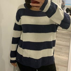 Navy and ivory striped knit sweater